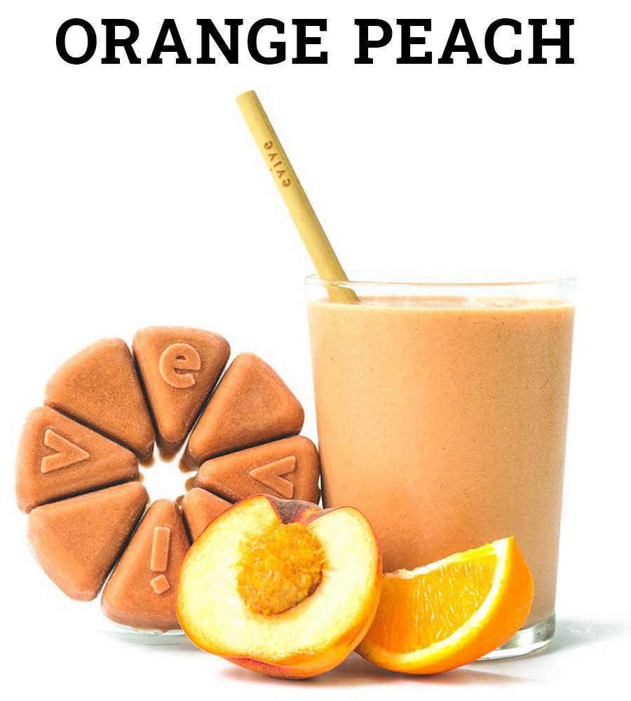 evive, evive smoothie. orange peach, orange smoothie